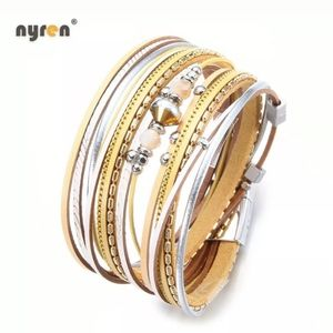silver and gold leather multi-strand rap bracelet